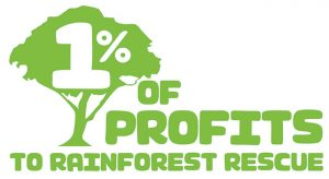 1% Of Profits to Rainforest Rescue Logo