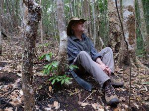Dr Robert Kooyman Sitting Amongst Fire Damage at Nightcap National Park