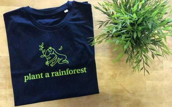 navy plant a rainforest tshirt with green print