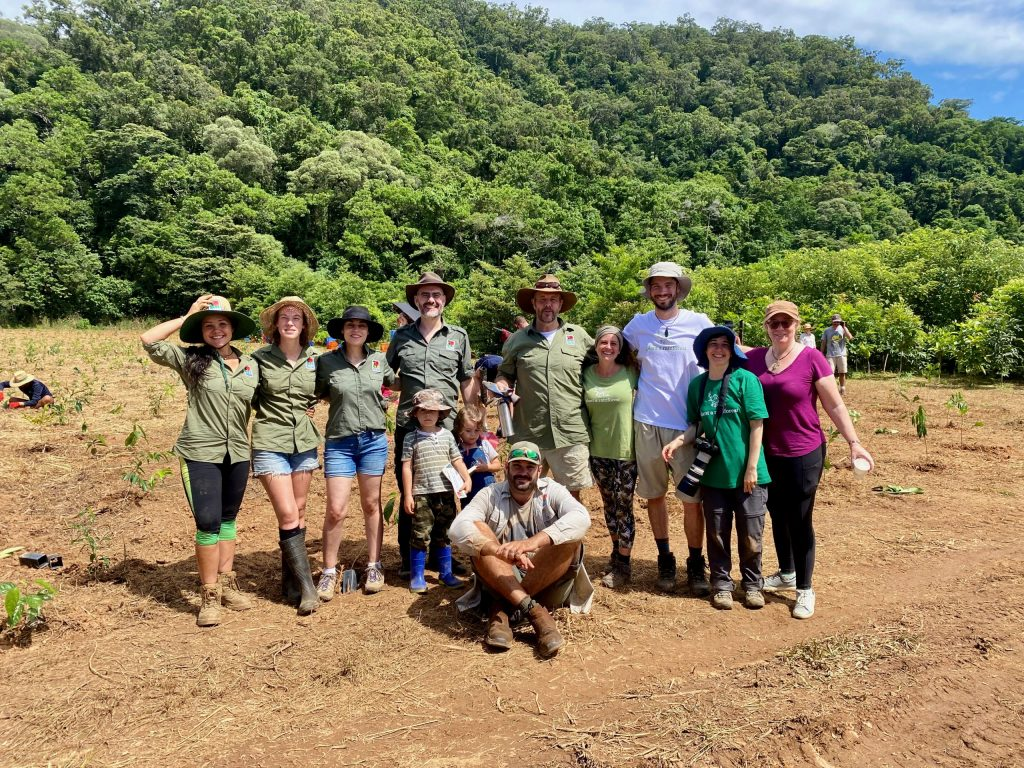 Some of the Rainforest Rescue team at NightWings Community Tree Planting 2021